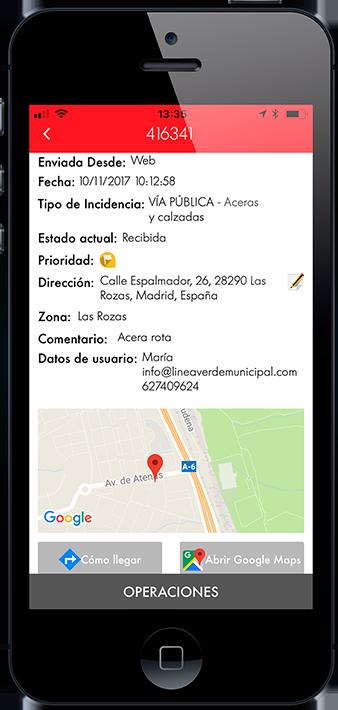 Pantalla app Live Gestión Línea Verde