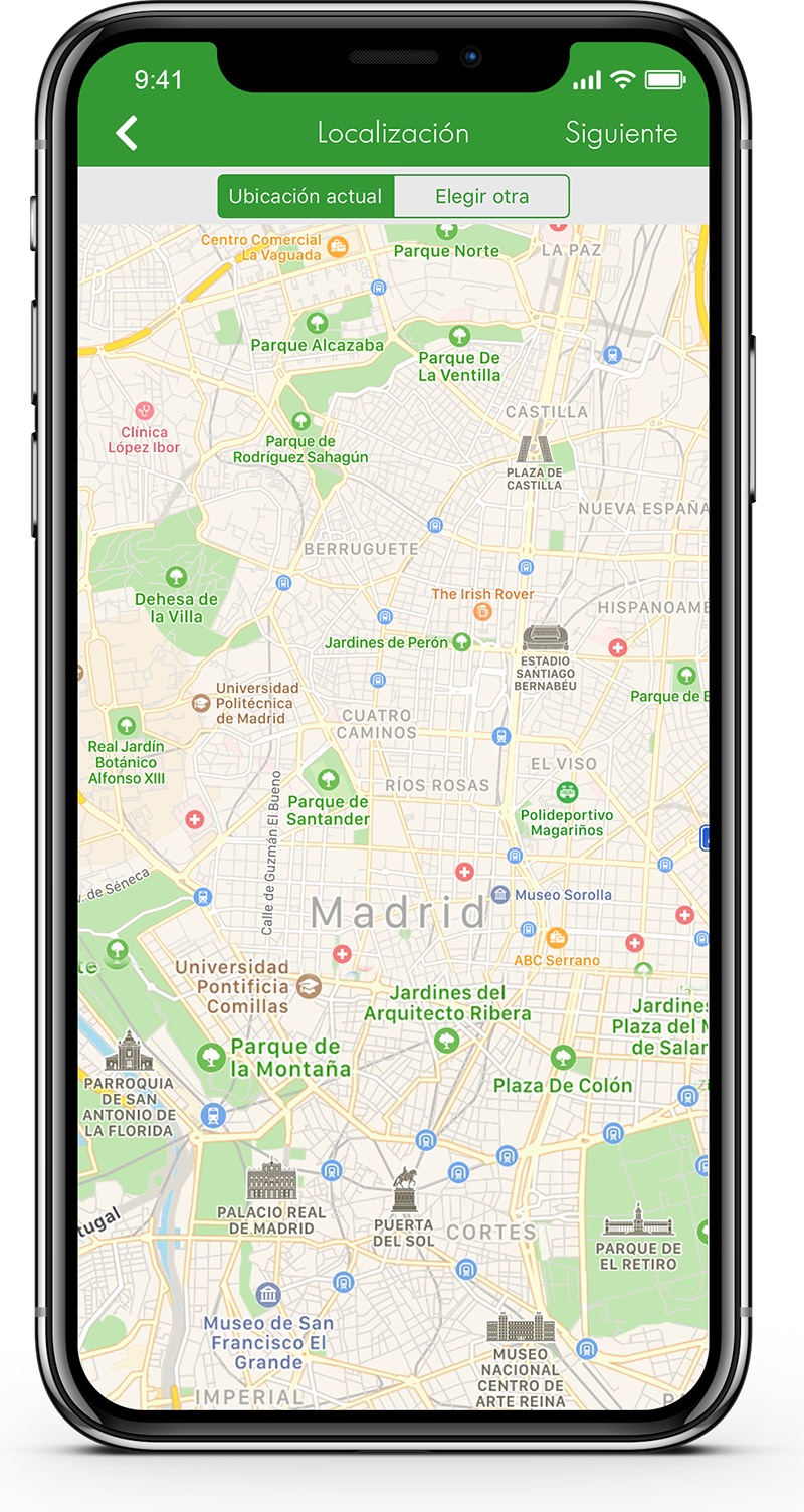 app pantalla localización Línea Verde